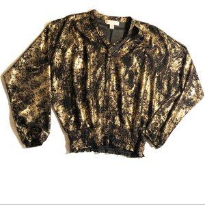 Michael Kors Black and Gold Long Sleeve Blouse